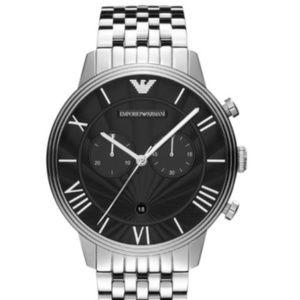 EMPORIO ARMANI AR1617 Silver Black Men's Watch #84